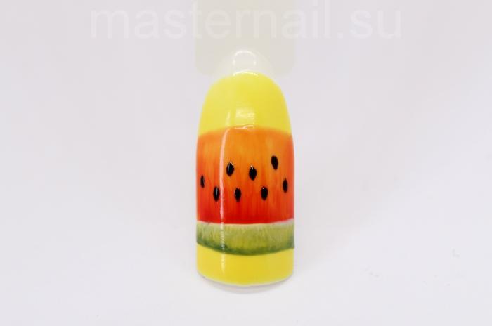 Маникюр с арбузом на желтом фоне: пошаговое фото